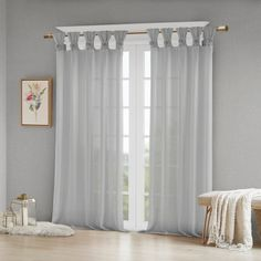 Madison Park Rosette Floral Embellished Cuff Tab Top Solid Window Treatments Curtain Panel Drape for Bedroom Living Room and Dorm, 50 W x 63 L, White Tab Top Curtains, Drapes Curtains, Patio Door Curtains, Nursery Curtains, Black Curtains, Sheer Drapes, Thing 1, Colorful Curtains, White Paneling