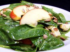 This french inspired salad utilizes blue cheese, thinly sliced apples, and sunflower seeds to perk up a traditional spinach salad. Artisanal cheese works best here as well as a tart apple.  Recipe from Vegetarian Times.