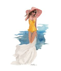 A yellow bathing suit and a fabulous hat... it must be summer!  Love this illustration.