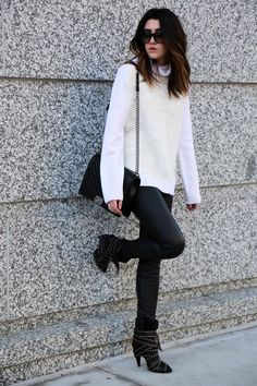 80026bce6e3c4 The Middle Closet rocks one of our favorite combos: leather and comfy  sweater. What