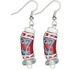 Recycled Glass Adinkra-Sankofa Earrings in Red Handmade and Fair Trade. These Global Mamas' bead earrings are handmade from recycled glass using ancient traditions. Earrings hang 2 inches from surgical steel hooks. Handmade Beaded Jewelry, Handcrafted Jewelry, Earrings Handmade, Unique Earrings, Fair Trade Jewelry, African Jewelry, African Beads, Bead Earrings, Bead Jewelry