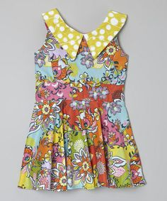 This Kalliope Kids Bright Floral Print Dress with Yellow Collar - Toddler & Girls is perfect! #zulilyfinds #kalliopekids #fashion #bright #floral