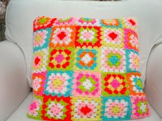 Crochet Cushion Pillow Granny Squares Bright Colours by LillyBev