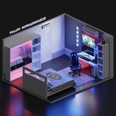 #OutdoorSpaceGames Gamer Bedroom, Bedroom Setup, Room Design Bedroom, Room Ideas Bedroom, Computer Gaming Room, Gaming Room Setup, Small Game Rooms, Video Game Rooms, Game Room Design