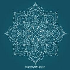Esboçado mandala bonito flor Vetor grátis