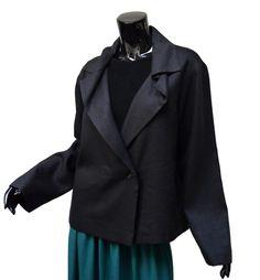 Annette Gortz Black Asymmetric  Jacket US 12 D 42 Linen Wool Herringbone #AnnetteGortz #BasicJacket #germandesign #OrigamiCollar #BlackJacket  Great design and fabric in this chic boxy jacket from Annette Gortz!