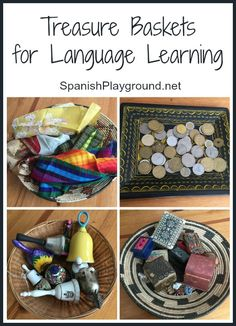 Montessori treasure baskets using household objects for kids learning Spanish. How to use treasure baskets as a fun language activity with a range of ages. #Spanish activities #MontessoriSpanish http://spanishplayground.net/montessori-treasure-baskets-for-language-learning/