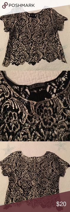 Lace crop top Love couture. Gold and black lace crop top purchased from another seller. Size large fits medium/large. Well made, perfect for the holidays, **bandage skirt in separate listing! Love Culture Tops Crop Tops