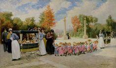 La promenade des enfants de la crèche municipale du premier arrondissement au jardin des Tuileries, par T. Lobrichon, fin XXIe, collection privée, Roy Miles Gallery