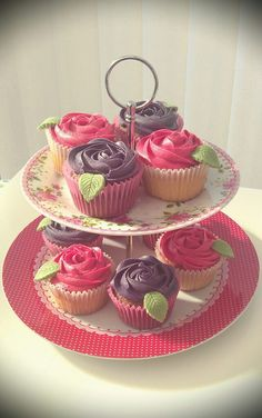 Purple and pink Strawberry rosette cupcakes. Purple and pink Strawberry rosette cupcakes. Rosette Cupcakes, Rosettes, Amazing Cakes, Red And White, Strawberry, Pink Purple, Desserts, Parties, Food