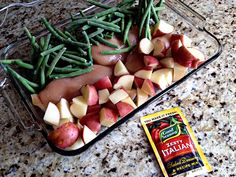 Italian Seasoned Chicken - green beans, chicken breast, potatoes, italian dressing mix, 1 stick of butter. Bake in oven. Easy!