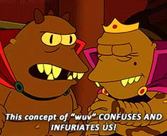 Lrrr and Ndnd learn about wuv. Futurama
