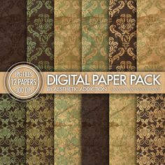 Textured Brown Green Damask Digital Paper by aestheticaddiction