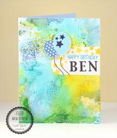 Watercolor Birthday card - Uniko Studio stamps