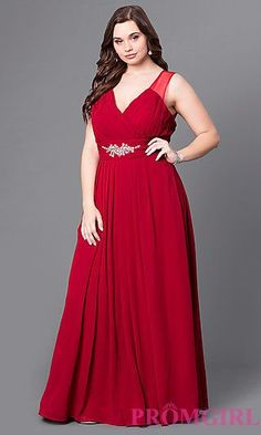 853eb47876e Long Formal Plus-Size Prom Dress with Sheer Back at PromGirl.com Plus Size
