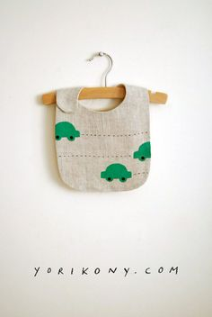 Green Vroom bib - hand-printed & individually embroidered by the artist. Limited number available here: http://etsy.me/1freA9l