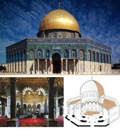 NAME: Dome of the Rock,  LOCATION: Jerusalem,  DATE: Early Islamic,  CULTURE: Islamic,  SPONSOR: Abd-al Malik,  FUNCTION: mosque,  MATERIALS: wooden dome, masonry drum,  TECHNIQUES: central plan, circumambulation,  NOTABLE: brazen sea porch with two bronze pillars (jachin and boaz), adyton (holy of holies), mosaics (geometric and floral motifs, calligraphy)