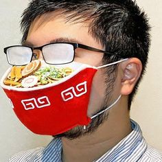 Ramen Face Mask - Chances are if you have glasses and wear a face mask, your glasses are going to fog up, so why not fog-up your glasses in style with this hilarious Ramen face mask?! Funny Greetings, Funny Greeting Cards, Black Plague Doctor Mask, People With Glasses, Massage Pressure Points, Prison Mike, Feed Bags, Unique Faces, The Big Lebowski