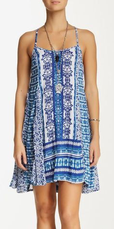 Printed Lace-Up Dress