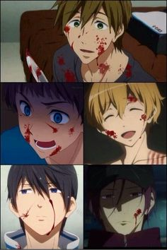 Iwatobi Swim Club — if it were a horror anime. <<< I swear Makoto and Nagisa look yandere O.O << YANDERE MAKOTO IS A NEED OMFG <<< Yandere Makoto is all I need in life (came to find out that there are also male yanderes) Nagisa Free, Yandere Boy, Hiro Big Hero 6, Horror, Splash Free, Free Eternal Summer, Free Iwatobi Swim Club, Shall We Date, Another Anime