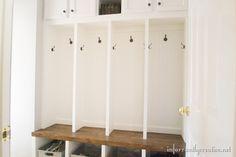 Mudroom Lockers Part 3 - Infarrantly Creative Hallway Storage, Locker Storage, Entry Stairs, Built Ins, Mudroom, Lockers, Family Room, Home Improvement, New Homes