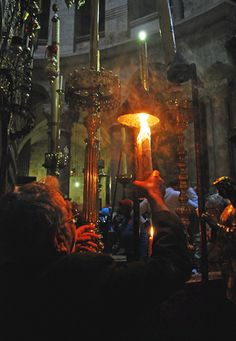 """The Holy Fire (by Agnieszka_Napierala) The Holy Fire (Greek Ἃγιον Φῶς, """"Holy Light"""") is described by Christians as a miracle that occurs every year at the Church of the Holy Sepulchre in Jerusalem. Holy Saturday, Orthodox Easter, Houses Of The Holy, Christian World, Religious Paintings, Byzantine Icons, Orthodox Christianity, Holy Week, Orthodox Icons"""
