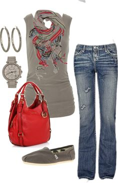 """Casual"" by honeybee20 on Polyvore.  I'd skip the watch, but this is a perfect errand day outfit.  Can't wait for the weather to allow something like this!"
