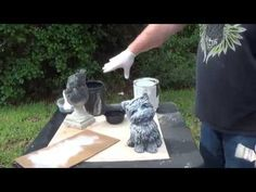 How to properly paint concrete statuary Part How to base coat and dry brush Concrete Garden Statues, Concrete Garden Ornaments, Concrete Fountains, Concrete Bird Bath, Concrete Leaves, Concrete Statues, Outdoor Statues, Concrete Crafts, Concrete Art