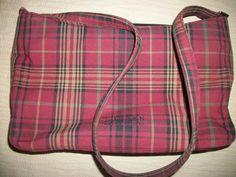 Ralph Lauren Red Plaid Cotton Purse 3 Compartments!
