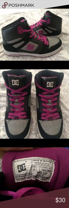 DC Women's High Top Shoes DC high top shoes. Women's Size 9. Worn just once. Very good condition. Purple Black and Grey. DC Shoes Sneakers