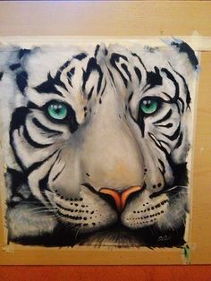 Oil painting of white tiger -amber marsh