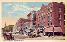 EAST MAIN STREET WATERBURY, CT publ by Danzinger & Berman The Strand Theatre Main Street, Street View, Connecticut, Maine, Nostalgia, Theatres, World, The World, Teatro