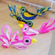 Tried #quilling #cute #birds #pink #blue #colourful #quillingart #quillingpaper #chumbak #art #madebyme #61