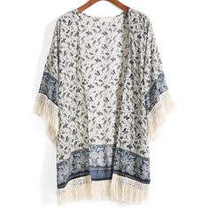 With Tassel Tribal Print Kimono (56 BRL) ❤ liked on Polyvore featuring cardigans, kimonos, tops, outerwear and jackets