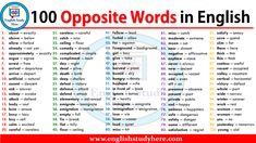 Antonym, opposite words list in english. 100 Opposite Words in English; English Grammar Notes, English Vocabulary Words, English Phrases, English Words, English Language, English Idioms, English Study, English Lessons, Learn English