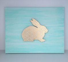 Mint Gold Nursery Mint Bunny Artwork Gold by EthelsGranddaughter Aqua Nursery, Gold Nursery Decor, Nursery Art, Mint Coral, Mint Gold, Mint Decor, Mint Background, Coral Art, Easter Art