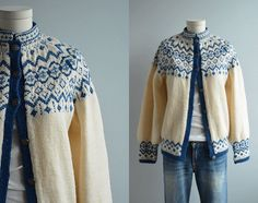 Vintage Nordic Wool Fair Isle Cardigan / 60s Hand Knit Sweater Cream Blue
