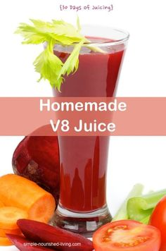 Homemade V8 Juicer Recipe: 30 Days of Juicing & Weight Watchers Points Plus. Refreshing fresh vegetable juice, only 60 calories & 2PP+ per 1 cup serving!