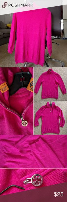 Tory Burch cashmere sweater Bright fuchsia/pink cashmere sweater with Tory Burch logo zipper tag. Tag says medium, bit fits more like a small. Worn and cared for gently, has minor piling but not really noticable. Very soft and light. Small turtle neck design and zipper located on the back of the sweater. Tory Burch Sweaters Cowl & Turtlenecks