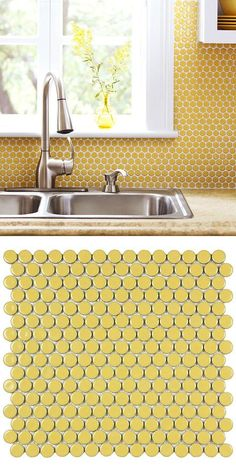 Merola Tile Hudson Penny Round Vintage Yellow 12 in. x 5 mm Porcelain Mosaic Tile sq. / This yellow penny round tile creates such a bright and cheerful look, used here as a kitchen backsplash. Room Tiles, Kitchen Colors, Kitchen Flooring, Kitchen Backsplash, Kitchen Decor, Kitchen Design, Kitchen Yellow, Kitchen Shelves, Yellow Tile