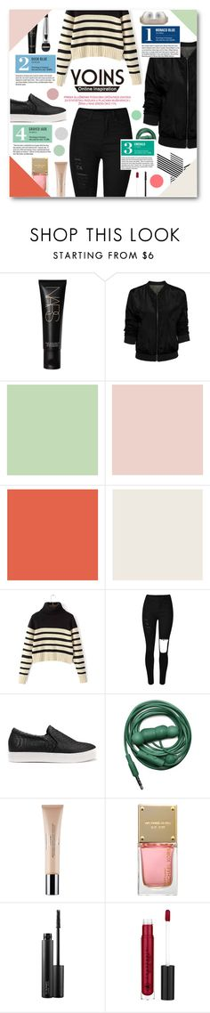 """Bomber jacket"" by tasnime-ben ❤ liked on Polyvore featuring NARS Cosmetics, Garance Doré, Urbanears, Christian Dior, Michael Kors, MAC Cosmetics, yoins and yoinscollection"