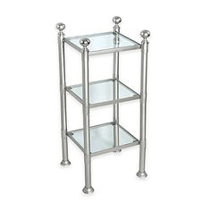 Use this pretty and practical Multi-Shelf Steel and Glass Storage Unit to hold essentials in your bathroom or powder room. Its steel and glass design will add contemporary elegance as well as function and storage to your décor.