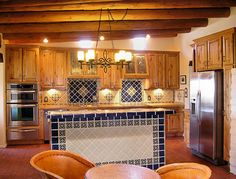 Kitchens - traditional - kitchen - albuquerque - Zenteriors by Camian Larson Hacienda Kitchen, Bar Tile, Kitchen Ideas, Kitchen Design, Kitchen Island Bar, Navy Kitchen, Wall Bar, Grey Kitchens, Grey Cabinets