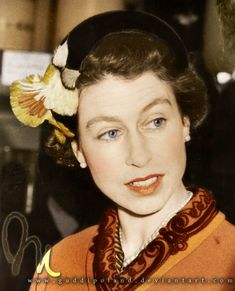 Queen Elizabeth II! Black&white photo coloured by me.