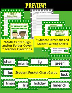 Fern Smith's FREE St. Patrick's Day Writing Center
