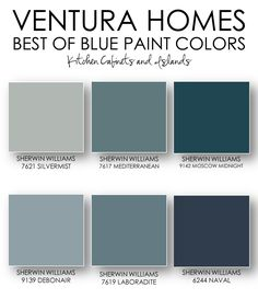 On the blog: Ventura Homes Best of Blue Paint Colors / Sherwin Williams paint colors / shades of blue / blue kitchen cabinets / kitchen cabinets / blue / dream kitchen