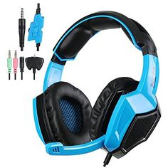 Sades Wired Stereo Gaming Headset Over Ear Headphones with Microphone for Xbox One / Xbox 360 / / PC /Cell phones / iPad(Black Blue) Xbox 360, Playstation, Ps4 Gaming Headset, Ps4 Or Xbox One, Pc Ps4, Headphones For Ps4, Headphones With Microphone, Headphone With Mic, Gaming Headset