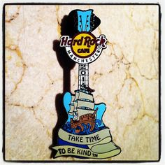 NEW PIN ALERT: our 'Ship Tattoo' Guitar pin marks the second of four themed pins, this one of which carries the inscription of another Hard Rock key motto - 'Take Time To Be Kind'. This pin is now available in our Rock Shop for £8.95! #ShowUsYourPin #Manchester