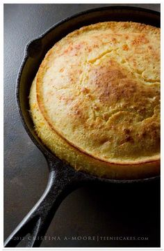 Cheesy skillet cornbread; it will rise high and tender; the edges will have a delicate, light crunch. Just like cornbread should be!