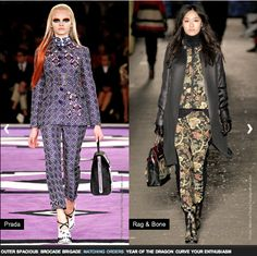 From floral prints to architectural patterns, according to a trend report on style.com, the fall of 2012 will be all about incorporating busy patterns and prints into our wardrobes. Prada, Rag and Bone, Miu Miu, Louis Vuitton, Prabal Gurung, etc…all incorporated an array of prints and patterns from head-to-toe in their 2012 fall collection. As floral prints and various busy patterns are currently popular in the summer season, this trend will rise coming into the fall. - Janett A.